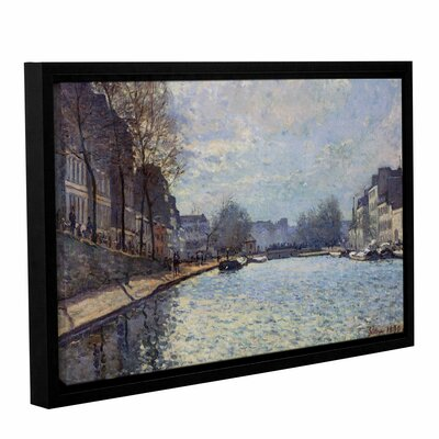 View of The Canal Saint-Martin, Paris, 1870 Framed Painting Print on Wrapped Canvas