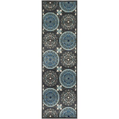 Winfrey Black Indoor/Outdoor Area Rug Rug Size: Rectangle 88 x 12