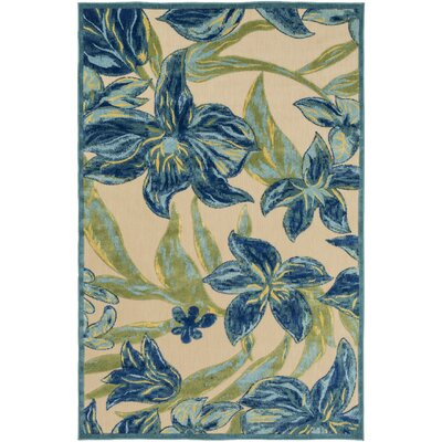 Winfrey Teal/Khaki Indoor/Outdoor Area Rug