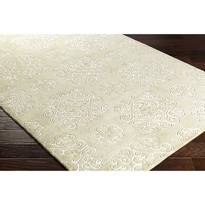 Silvera Hand-Tufted Neutral/Green Area Rug Rug Size: Rectangle 5 x 76