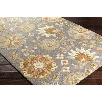 Leedy Hand-Tufted Gray/Orange Area Rug Rug Size: 5 x 76