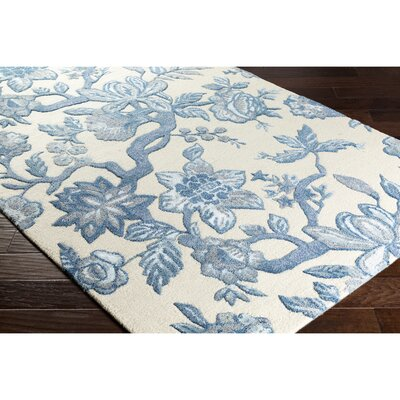 Leedy Hand-Tufted Neutral/Blue Area Rug Rug Size: Rectangle 5 x 76
