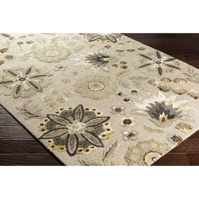 Leedy Hand-Tufted Neutral/Yellow Area Rug Rug Size: 5 x 76