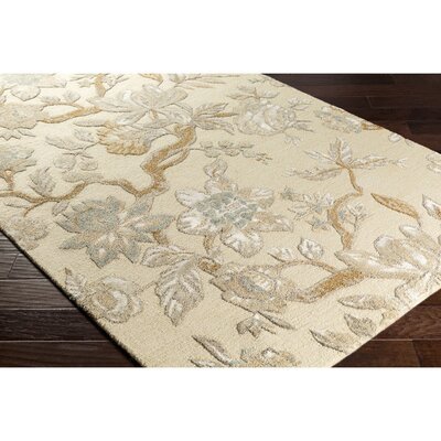 Leedy Hand-Tufted Neutral/Green Area Rug Rug Size: 2 x 3
