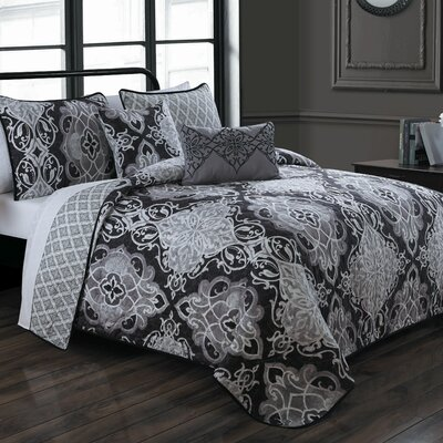 Geaux 5 Piece Quilt Set Color: Black, Size: King