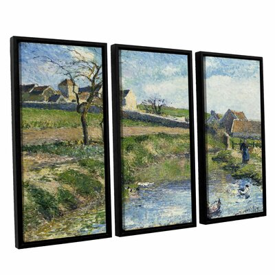 The Farm at Onsy, 1883 3 Piece Framed Painting Print on Canvas Set Size: 24