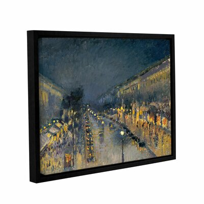 The Boulevard Montmartre at Night, 1897 Framed Painting Print on Wrapped Canvas Size: 14