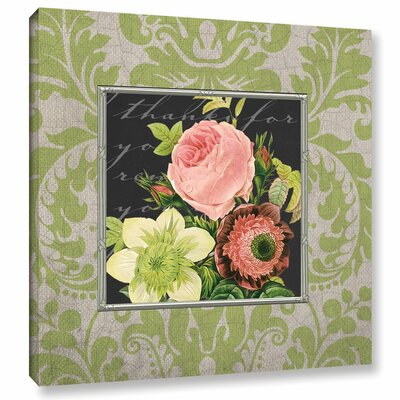 Damask Bouquet Graphic Art on Wrapped Canvas