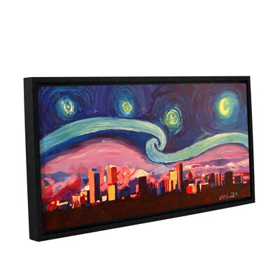 Starry Night in Denver Colorado Skyline with Mountains Framed Painting Print on Wrapped Canvas