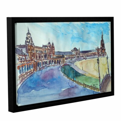 Seville Spain - Plaza Espana at Sunset 2 Framed Painting Print on Wrapped Canvas Size: 12