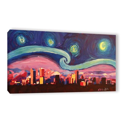 Starry Night in Denver Colorado Skyline with Mountains Painting Print on Wrapped Canvas