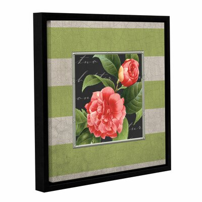 Stripe Rose Framed Graphic Art on Wrapped Canvas