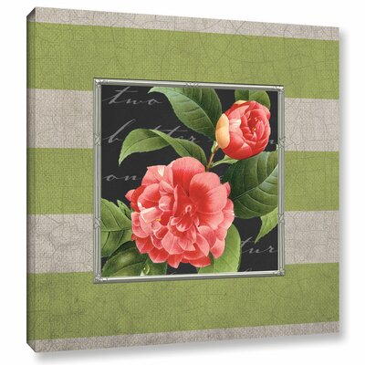 Stripe Rose Graphic Art on Wrapped Canvas
