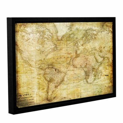 Vintage Map Framed Graphic Art on Wrapped Canvas