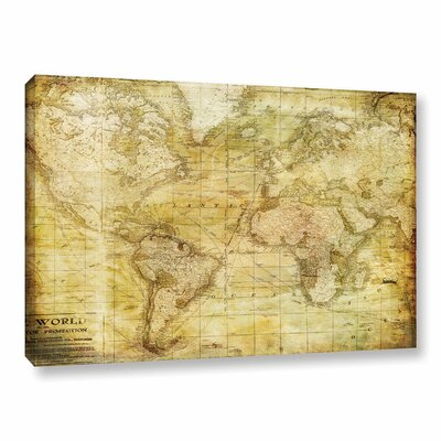 Vintage Map Graphic Art on Wrapped Canvas
