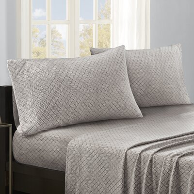 Hughley Sheet Set Size: Twin, Color: Grey Diamond