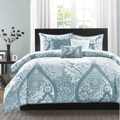 Goodwin 180 Thread Count 100% Cotton Duvet Set Size: Full / Queen, Color: Blue