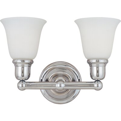 Sherrard 2-Light Vanity Light Finish/Shade Color: Soft vanilla/satin nickel