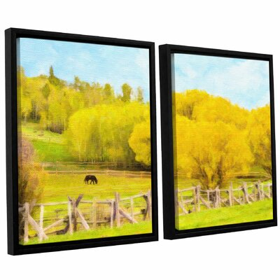 Golden Pasture 2-Piece Framed Painting Print on Canvas Set Size: 24