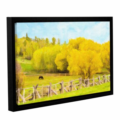 Golden Pasture Framed Painting Print on Wrapped Canvas Size: 12