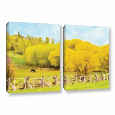 Golden Pasture 2-Piece Painting Print on Wrapped Canvas Set