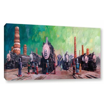 Trainyard Painting Print on Wrapped Canvas