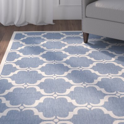 Rockbridge Blue/Beige Indoor/Outdoor Area Rug Rug Size: Rectangle 27 x 5