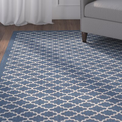 Alcott Hill Louisville Navy/Beige Indoor/Outdoor Area Rug