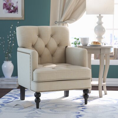 Summerfield Tufted Upholstered Club Arm Chair Upholstrey: Beige