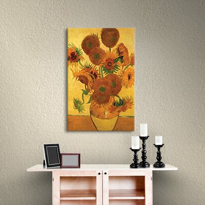 'Vase with Fifteen Sunflowers' by Vincent Van Gogh Painting Print on Canvas