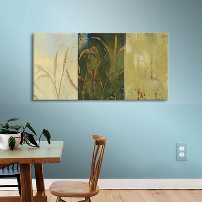 Gold Grass Painting Print on Wrapped Canvas