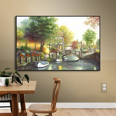 Canal Bridge Painting Print on Wrapped Canvas