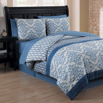 Boehme 8 Piece Bed in a Bag Set Color: Blue, Size: King