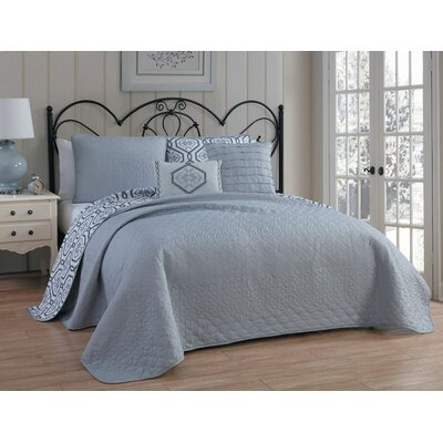 Shumaker 5 Piece Reversible Quilt Set Size: King, Color: Teal