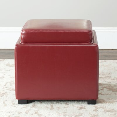 Ashbury Storage Ottoman Upholstery: Red