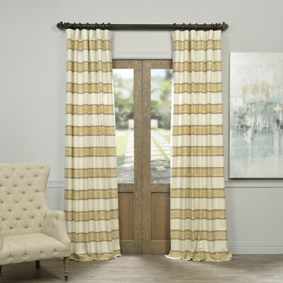 Allison Stripe Print Pinch Pleat Single Curtain Panel