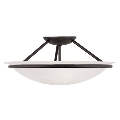 Larchmont 2-Light Semi Flush Mount Size: 8 H x 20 W, Finish: Black