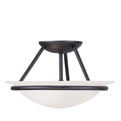 Larchmont 2-Light Semi Flush Mount Size: 7 H x 12 W, Finish: Black