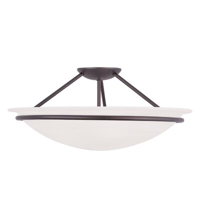 Larchmont 2-Light Semi Flush Mount Size: 8 H x 20 W, Finish: Bronze