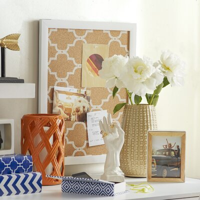 Quatrefoil Wall Mounted Bulletin Board Frame Finish: White