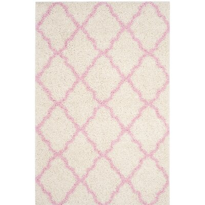 Brentwood Beige/Pink Area Rug Rug Size: Round 6