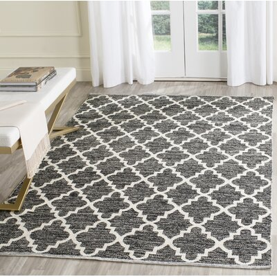Valley Hand-Woven Black/Ivory Area Rug Rug Size: Rectangle 5 x 7
