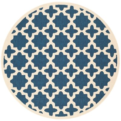 Osgood Navy Indoor/Outdoor Area Rug Rug Size: Round 53