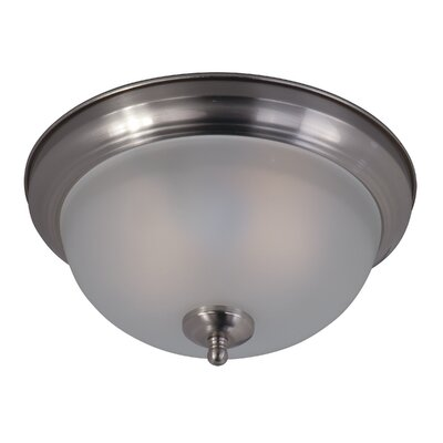 Southerland 2-Light Flush Mount Finish: Satin Nickel, Glass Type: Frosted Glass