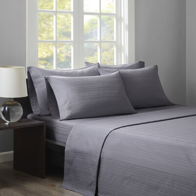 Kingsport 500 Thread Count Dobby Stripe Sheet Set Size: Queen, Color: Grey