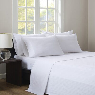 Kingsport 500 Thread Count Dobby Stripe Sheet Set Size: Queen, Color: White