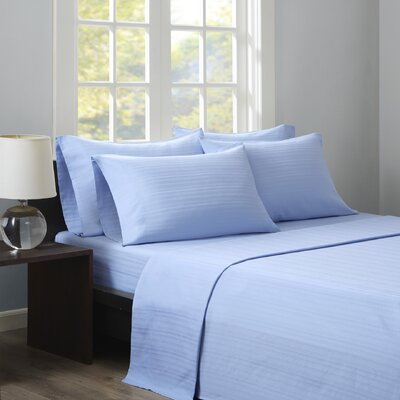 Kingsport 500 Thread Count Dobby Stripe Sheet Set Size: Queen, Color: Blue