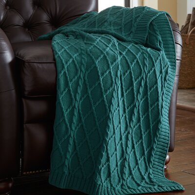Greenburgh Cable Diamond Knit Throw Color: Teal Blue