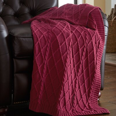 Greenburgh Cable Diamond Knit Throw Color: Red