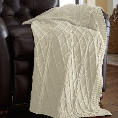 Greenburgh Cable Diamond Knit Throw Color: Antique White